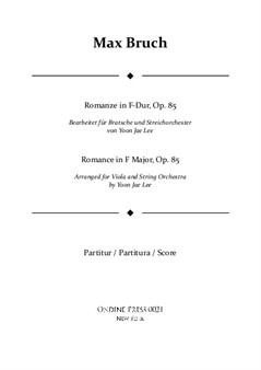 Bruch (arr. Lee): Romance in F Major for Viola and String Orchestra, Full Score